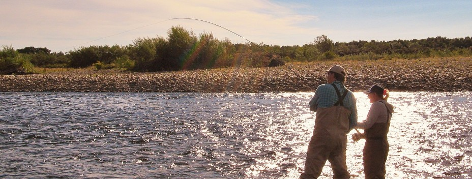Playing a fish on the River Spey with Graham Waterton